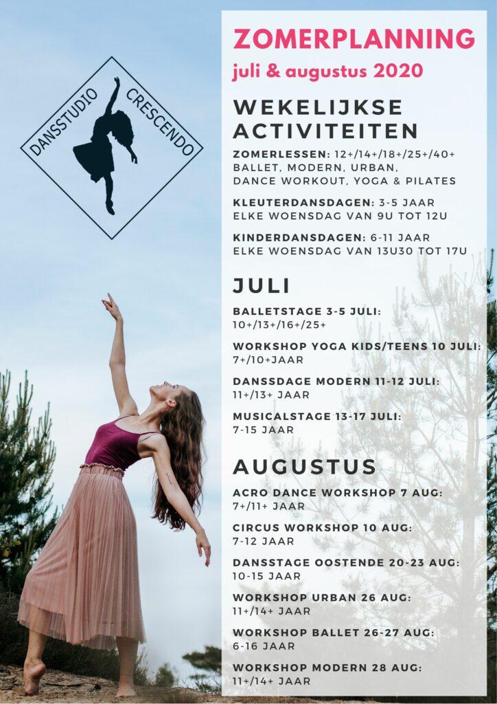 Overzicht zomerplanning